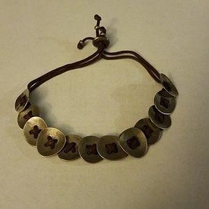 Silpada Jewelry - Silpada sterling button and cord drawstring brace
